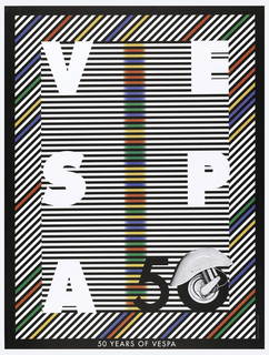 Poster in black and white horizontal stripes with a vertical column of colored stripes at the center in blurry depiction creating an op art effect; bold block letters, in white: V E / S P / A; in black, lower right: 50 [the 0 is made of a photograph of the back wheel of a Vespa). Framing the central area are diagonal stripes, in black, white, red, yellow, green and blue, bordered by black; text in white, lower margin: 50 YEARS OF VESPA.