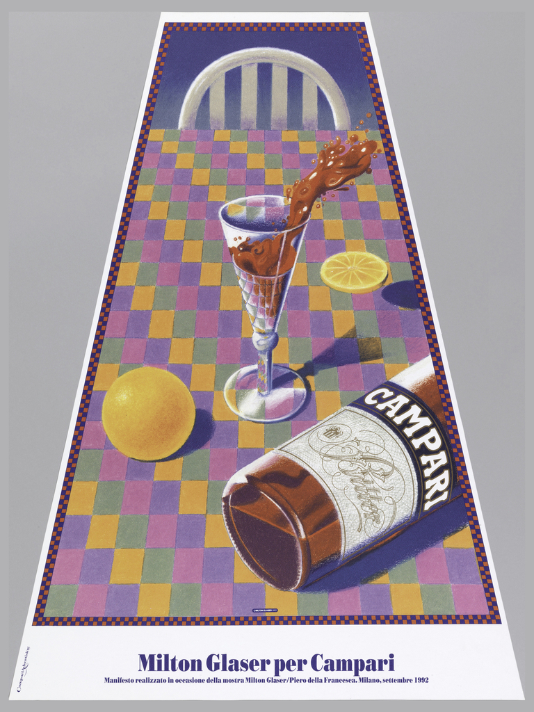 Poster depicting a trapezoidal view of a table with a chair at the top, framed by red and blue checkers; tablecloth in colorful checkered pattern. A glass, reflecting checkered tablecloth, with reddish brown liquid splashing out of it, partial Campari bottle lying on its side bottom right with an orange and orange slice on the table. Lower margin, in blue: Milton Glaser per Campari / Manifesto realizzato in occasione de la mostra Milton Glaser/Piero Francesca. Milano, settembre 1992.