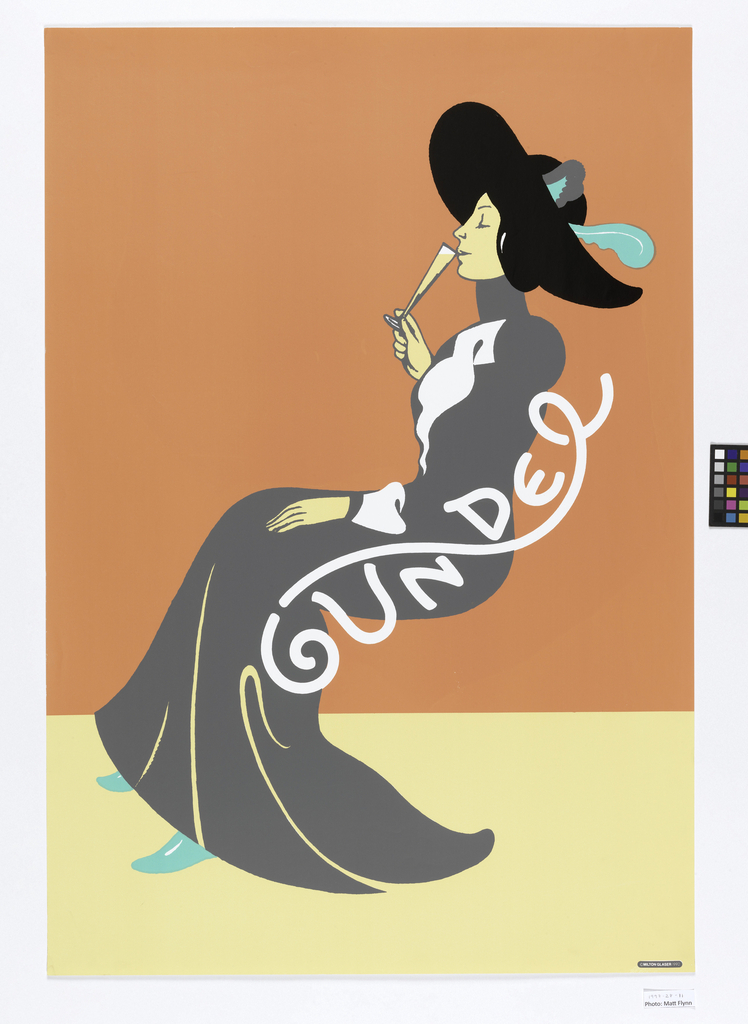 Poster depicting a woman in profile against a dark peach and light peach-colored background. She wears a high collared dress gray and black hat, in late-19th to early-20th century fashion, sips from a glass flute yellow liquid, as she sits in a chair made up of white text: GUNDEL.