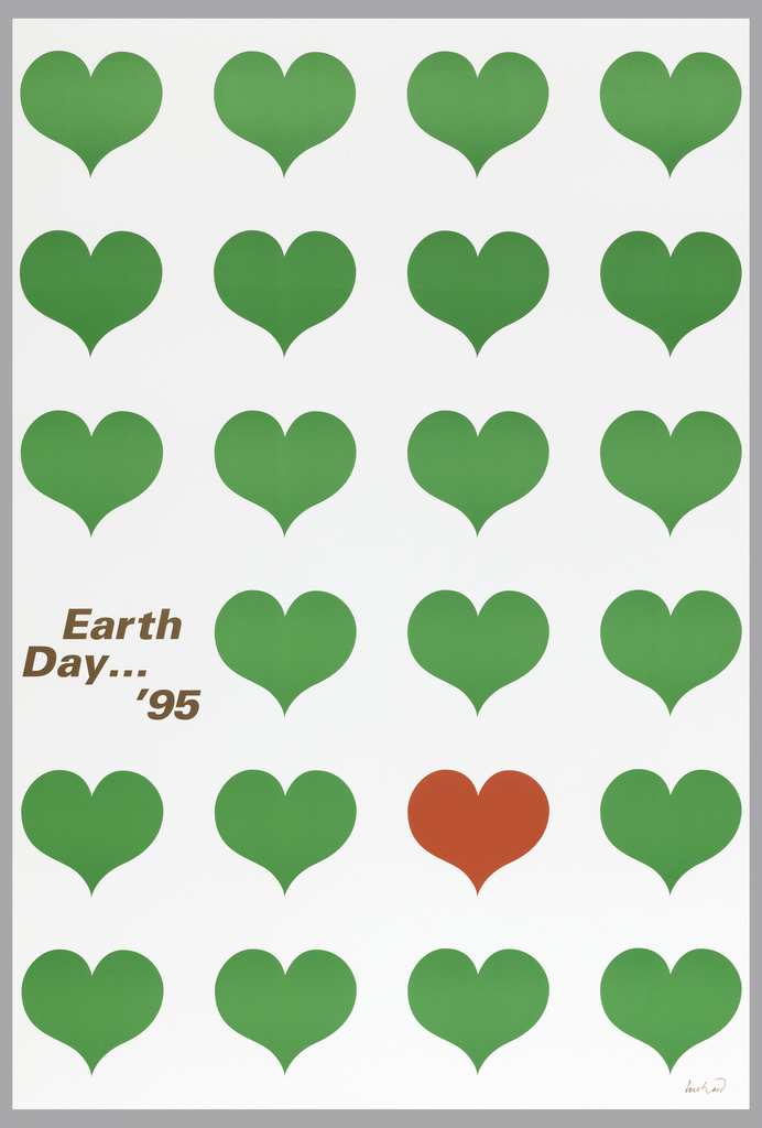 "Six rows of hearts fill entire page.  First three rows above and last row have four green hearts each.  Fourth row (from top) has three green hearts and brown text: Earth / Day... / '95""; fifth row has three green hearts with the fourth heart in red."