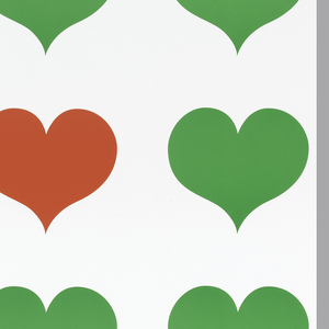 """Six rows of hearts fill entire page.  First three rows above and last row have four green hearts each.  Fourth row (from top) has three green hearts and brown text: Earth / Day... / '95""""; fifth row has three green hearts with the fourth heart in red."""