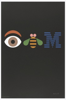 "On a black ground, in a horizontal row across the center: an abstracted eye with brown iris and orange eyebrow, a vertically-oriented yellow jacket bee with pink, circular antenae and green wings, and a horizontally striped blue, serif letter ""M""."