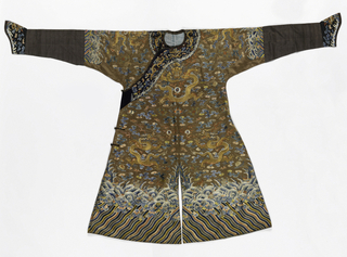 Long robe of brown satin embroidered in colored silks and metallic yarns. Long sleeves of black taffeta with embroidered horse-shoe cuffs. Diagonal front closure with a band of black satin, embroiderd in colored silks. Three 5-toed dragons on front, worked in gold with red silk flames. Background of cloud bands in colors, interspersed with auspicious symbols such as bat, peony, swastika, flaming pearl, lotus, jar, fish. Deep wave border at bottom.