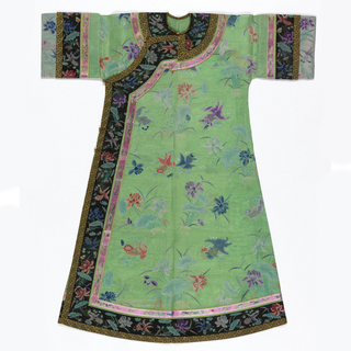 A woman's robe in green gauze with polychrome embroidery of fish and lotus motifs.