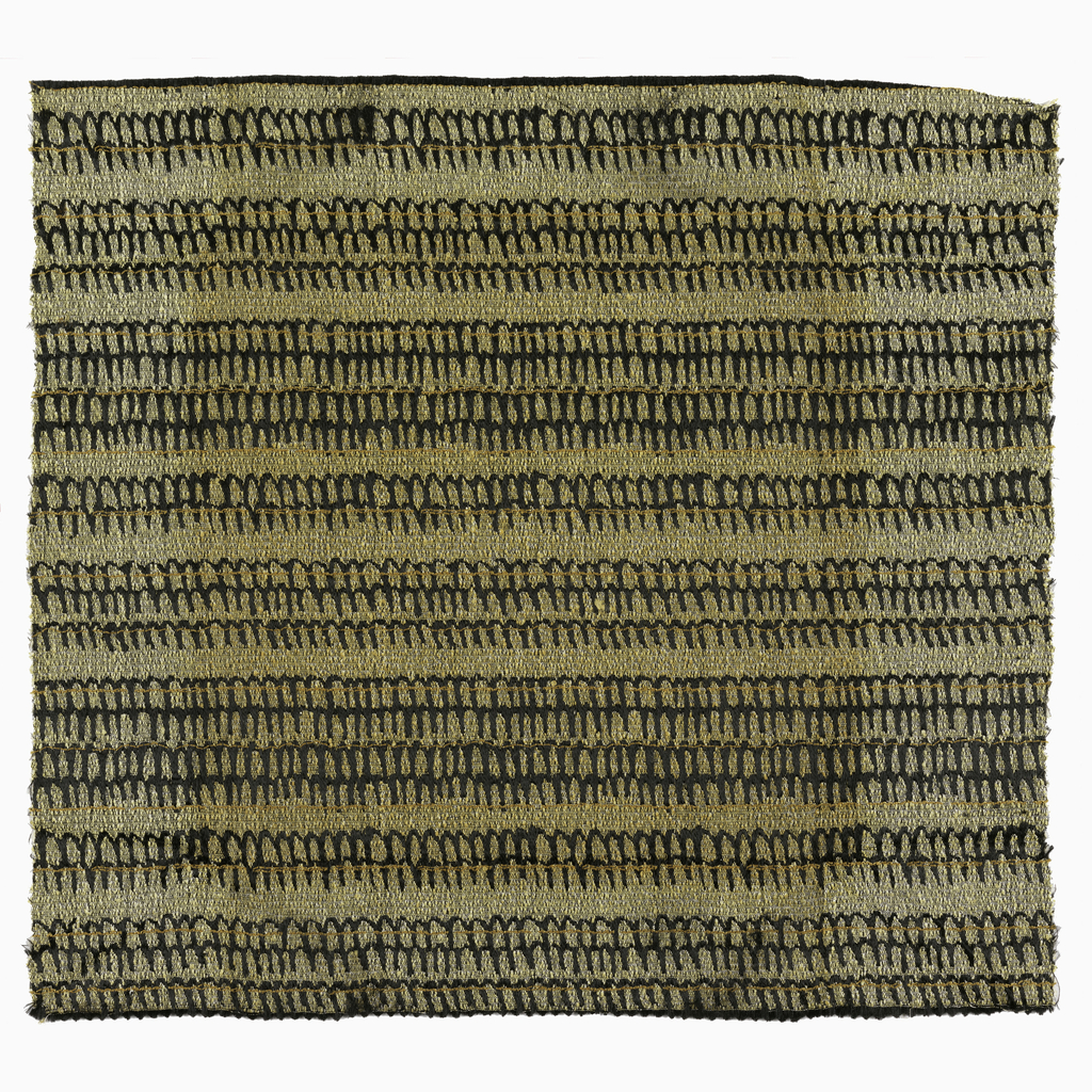 Hand-woven sample for an upholstery fabric. Pattern of horizontal calligraphic bands in three widths in black with fine orange wefts, on a mottled tan ground.