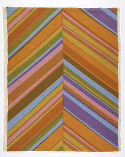 Large scale chevron with uneven diagonal bands of color meeting in the middle. The two sides are not symmetrical. In shades of orange and pink, with purple, blue, green and brown, overprinted to increase the range of colors.