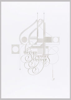 "Laser cut poster featuring the text ""design ignites change."""