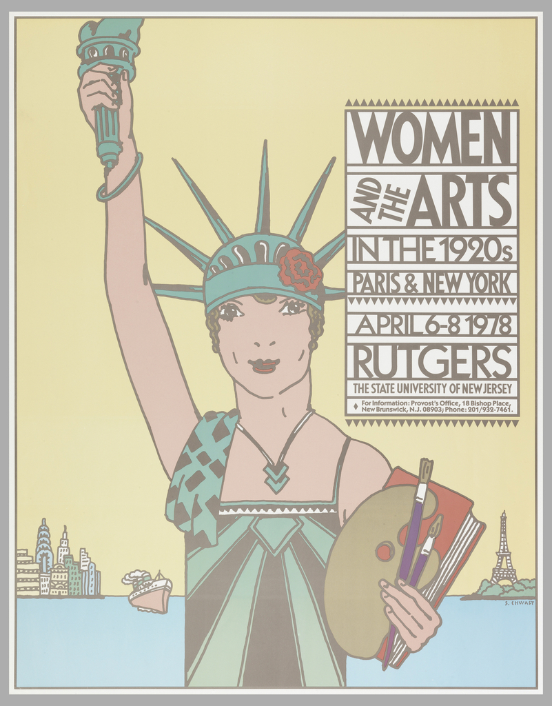 Vertical poster in pastel colors depicting a modified Statue of Liberty in 1920s garb. She wears a green and brown dress in flapper style, green bracelet and necklace, and her crown appears as a modified cloche hat decorated with a red rose. In her left hand she holds a red book, an artist's palette, and two paintbrushes. Body of water in the background. At left, the shoreline of New York City with skyscrapers, from which a steamboat sails. At right, the Eiffel Tower.