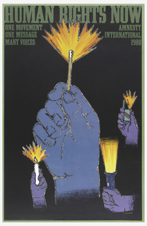 Poster depicts four blue hands holding different light sources—a match, a lighter, a candle, and a flashlight—on a black background. Printed green text at top.