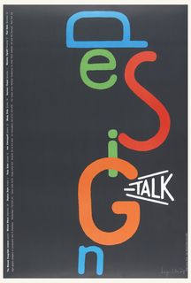 On black ground, the word DESIGN written vertically at center in varied letters and colors. At lower right, in white, surrounded by diagonal white lines: TALK
