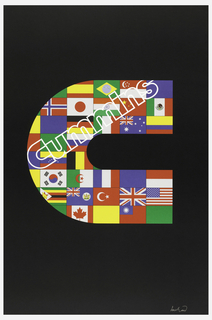 Black background, large letter C made up of world flags, including: Brazil, America, Canada, Britain, and Italy's flags. Cummins in white contour on diagonal (upward from left to right), across upper portion of C.