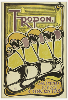 A large and rare example of Van de Velde's only poster design, drawn in 1898 for the Tropon food company as part of a comprehensive design program that appeared on packages of powdered egg whites to advertisements and the company's stationary. This sinuous, abstracted design is one of the most important works of Van de Velde's career and an icon of the Art Nouveau style.