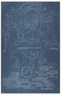 Screenprinted poster advertising TypeCon 2007 in silver ink on shimmery blue paper.