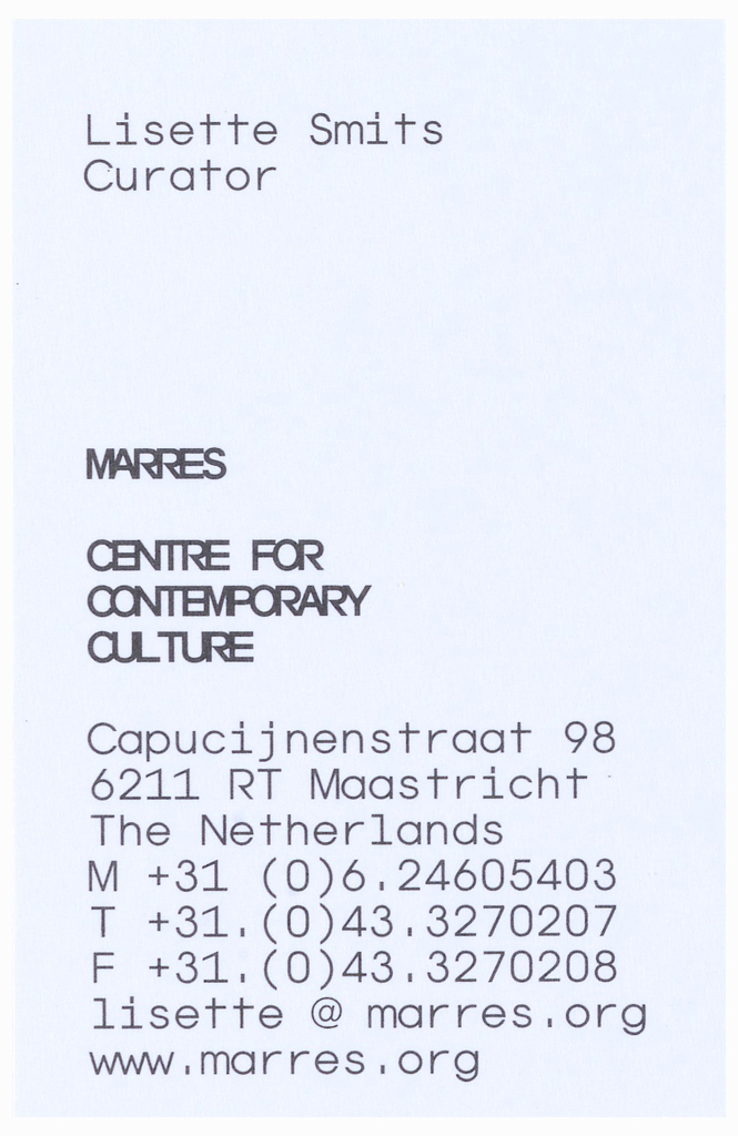 Business Card, Marres Center for Contemporary Culture Business Cards