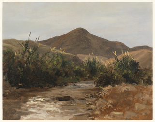 A stream in foreground, boarded on edges with scrub grass, leads toward distant mountain in the center rear.