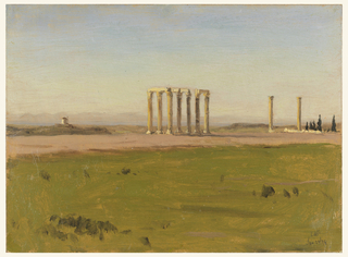 Study of grassy landscape with ruins of colonnade in mid-ground, looking to mountainous landscape, that is possibly separated by a body of water and shoreline.  A small stand of dark, pyramidal trees is to the right of two single, free-standing columns.  The columns are in the Corinthian order and likely once comprised the Temple of Olympian Zeus.