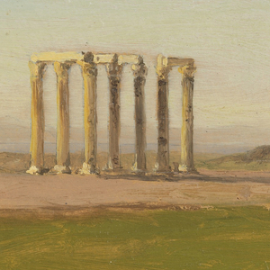 Study of grassy landscape with ruins of colonnade in mid-ground, looking to mountainous landscape, that is possibly separated by a body of water and shoreline.  A small stand of dark, pyramidal trees is to the right of two single, free-standing columns.  The columns are in the Corinthian order and likely date from Roman settlement.