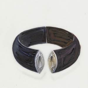 Drawing of ebony and dark snake wood bangle with gray navette diamond and brown navette diamond crafted out of plantimun and white gold.  Represents an early example of an innovative pivoting mechanism.  This bracelet was produced in 1996 on commission with one minor modification.  Instead of snake wood Padoukholz was used.