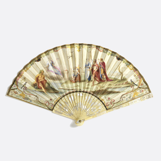 Pleated fan with leaf of parchment painted on both sides. An allegorical wedding scene in classical imagery. By the altar of Hymen (the Greek god of marriage), the couple are tethered to cupid's chariot. At left, a river god. Sticks of carved and pierced ivory, showing a man and woman, inlaid with mother-of-pearl thumb guard, and metal rivet head.
