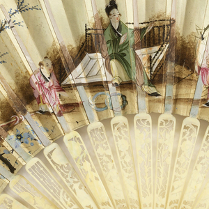 Pleated fan. Painted parchment leaf. Obverse: Romantic groups and still life in medallions bordered with gold; blue background scattered with gold leaves and pink flowering branches. Reverse: Chinoiserie landscape. Carved, pierced, painted, and gessoed ivory sticks showing figures and flowers in scrolled cartouches and fretwork; colored foil behind the guards. Glass stone at the rivet.