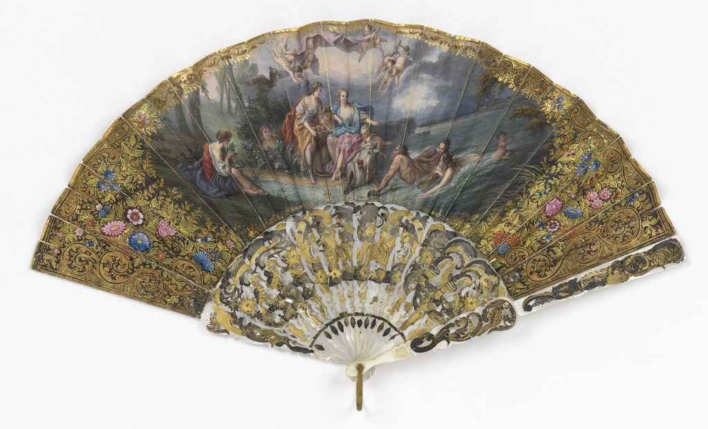 Pleated fan with double leaf. Obverse: Printed (probably lithograph) and heavily hand-colored paper showing scene of Europa and the Bull surrounded by figures and putti. Heavily embellished gilded borders. Reverse: parchment painted with flowers. Pierced and incised mother-of-pearl sticks with applied metallic foil showing equestrian figures and scrolls. Gilt metal bail.