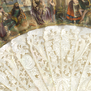 Pleated fan. Printed, gilded and hand-colored paper leaf. Obverse: Renaissance-style figures in a landscape. Reverse: a group of card players in a landscape. Boldly carved and incised mother of pearl sticks. Gilt metal bail and mother-of-pearl washer at rivet. Silk tassel with gilded beads.