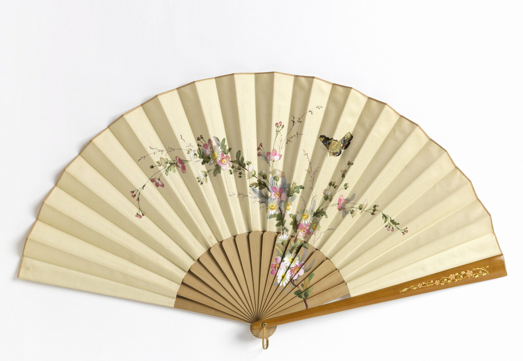 Pleated fan. Painted cotton leaf showing floral motifs and butterfly. Painted wood sticks. Gilding on guards. Gilt metal bail.