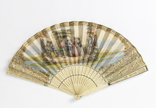 Pleated fan with a hand-colored lithographed paper leaf. Obverse: a hunting party with figures in Renaissance dress with falcons. Gold leaf edge with floral border on the top. Reverse: gilded scrolls with birds and a central cartouche enclosing a woman and a girl with a butterfly net, in mid-19th century attire. Pierced ivory sticks with silver foil applied in narrow bands. Mother-of-pearl washer at rivet.