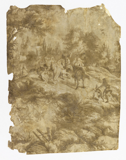 Vertical portion of paper giving portion of a repeating design. Hawking party on horses, with attendants on foot, and dogs; castle in background, and serpentine framework of foliage.