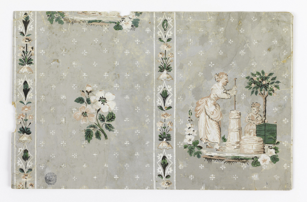 Design divided by narrow vertical stripes composed of small clusters of flowers separated by a diamond-like motif with a bud enclosed. Field of broad stripe composed of tiny clusters of pin points and daisies arranged in diagonal rows. On the right broad stripe is a scene compposed of a woman churning butter and a small child leaning against a tree planted in a tub is beside her. Opposite this motif in the other broad stripe is a cluster of flowers smaller in scale. Evidently these two motifs alternate.