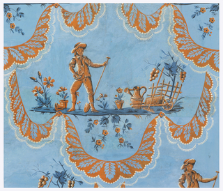 Repeating medallion in brick red and darker red, of figure of a farm boy standing on ground strip amid flowers, flower pots and garden tools, enclosed in draped flouncing of leaf forms edged with lace. Printed on a blue ground.