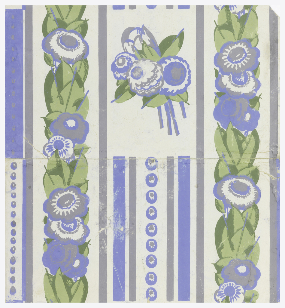 Band of stylized flowers alternating with stripes and circles.  Floral bouquet in void.  Printed in two shades of green, blue and gray on an off-white ground.
