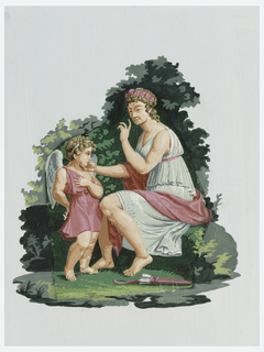 Venus admonishing a putto, against a background of granary.