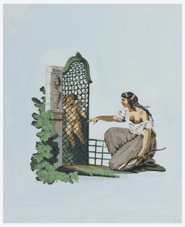 Kneeling female figure before a cage formed by trellis-work, in which a cupid is imprisoned. Pasted on a blue-colored support.