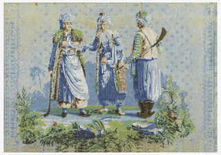 Horizontal rectangle, probably part of a bandbox. Field diapered, and bordered right and left, in darker blue. In center, three figures in Turkish costumes, with ground line of foliage and darker blue background.