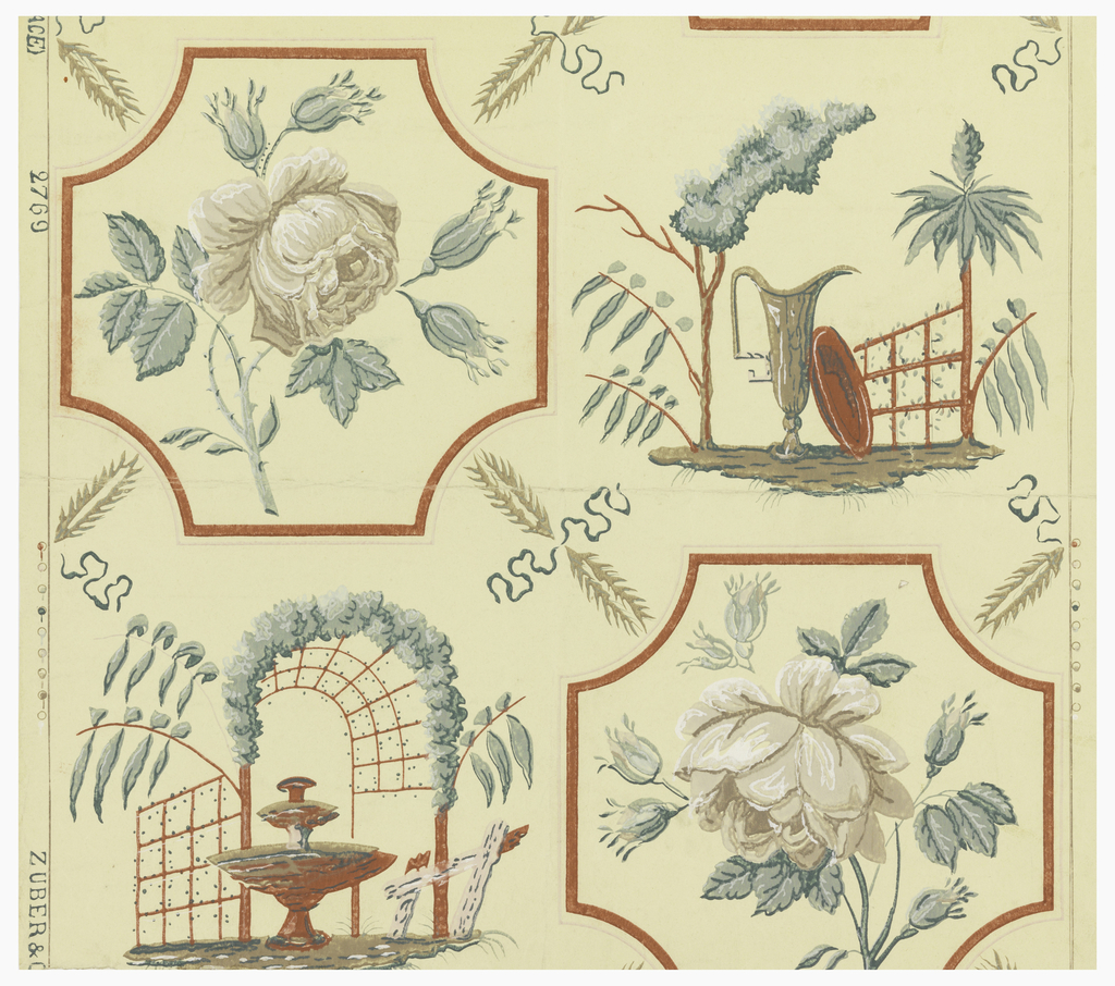 Rose spray set in frame (square with incurving corners) placed beside a fountain under an arbor, in one row, and beside a plate and ewer with plants, in the alternate row. Printed in gray, green, red and pink on cream ground.