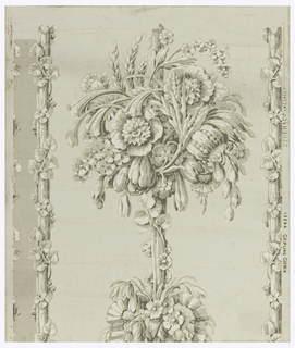 "Reproduction of an early 19th century wallpaper which was inspired from wood carvings of Grinling Gibbons made in 1st quarter of the 18th century. Elaborate bunches of flowers and grain repeat themselves on an upright continuous stem. At either side are two parallel straight stems entwined with a flowering vine. When on wall these stems form vertical borders between central motifs. This paper has been used on the hall walls of the Pingree House, in Salem, Massachusetts. Printed in selvedge: ""Zuber and Cie Alsace, 10804, Grinling Gibbon."""