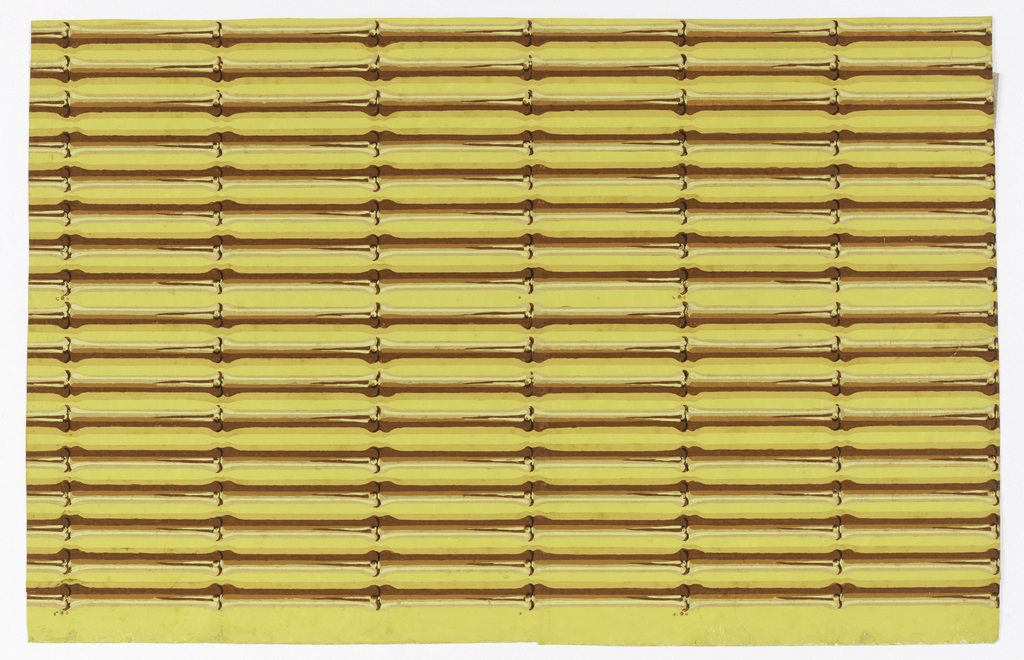Parallel strips of brown bamboo, with highlights, on yellow ground. Eight colors. Two borders included in one width. Shadows falling on ground change direction at approximately mid point of each single width of border.