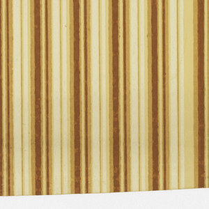 Two identical borders included in one width of papers. Four colors on light tan ground. Stripes in cream and orange-brown in varying widths and tones.