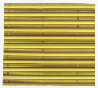 Conventionalized brown bamboo strips in high relief against yellow background. The actual ground of the paper is brown. Two borders included in one width.