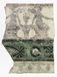 Upper part of border has two addorsed seated Nymphs with wings, a vase between. Below a band with rosette and portion of a checkered lozenge, on green ground.