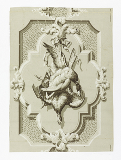 Trompe l'oeil design of trophies consisting of a dead duck and pheasant hanging by ribbons from foliate scrolls; enclosed by four-lobed frames, which are, in turn, mounted on spotted rectangles with clipped corners. Printed in grisaille, heightened with brown.