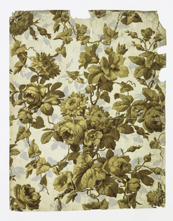 On white paper, embossed in diamond configuration, large roses, other flowers. Printed in 6 colors: browns, metallic gold, over fill pattern of gray leaves.