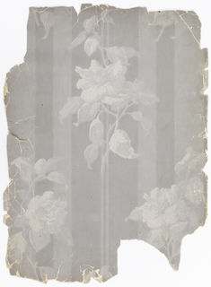 Over wide gray stripes, isolated lighter gray roses.