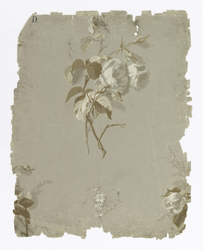 Printed in grisaille and beige on gray ground, widely spaced, isolated, large sprigs alternating with small flower sprigs.
