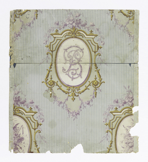 On paper with vertically-striped embossing, narrow-striped blue-green ground: lavender flowers, festooned, and gold scroll work and beading enframing oval with cypher or monogram in lavender; trophies of the hunt, music.
