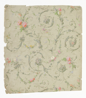On pale gray ground, gray-green foliate scroll-work entwined with pink roses and garlands of tiny flowers.
