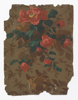 On brown ground, large brown leaves and flowers: printed over these, large sprigs of bright red roses and green foliage.