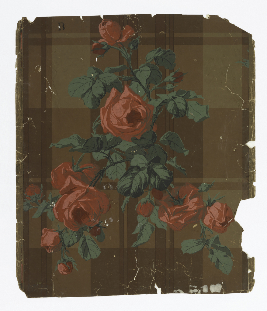 On brown ground with large-scale plaid, large sprigs with bright red roses and bright green leaves.