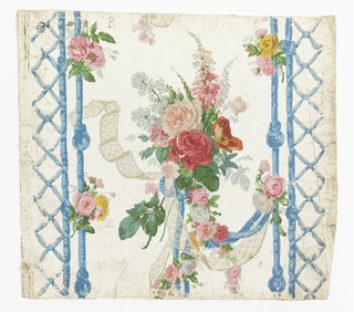 "On polished or satin ground, vertical bandings of knotted blue cord, on either side of bouquet of pink flowers which hang with lace and blue cord. Marked with black crayon ""B"" Embossed ""Ericson & Weiss/Designers/Paris/New York"